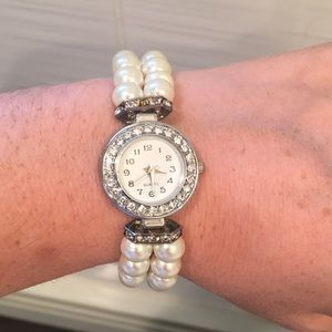 Accessories - Faux pearl and rhinestone bracelet watch